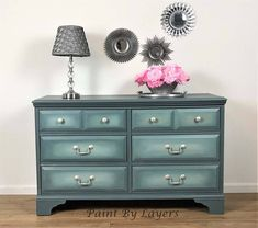 Hand Painted Vintage Furniture by PaintbylayersDesign on Etsy Cream Paint Colors, Chalk Paint Colors, Grey Dresser, Small Dresser, Vintage Dressers, Vintage Furniture, Above And Beyond, Pallet Furniture, Bedroom Furniture