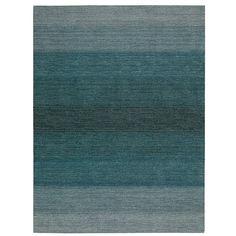 Calvin Klein Linear Glow Wool Rug ($171) ❤ liked on Polyvore featuring home, rugs, aqua, aqua rug, aqua area rug, hand woven rugs, blue green rug and hand loomed rug
