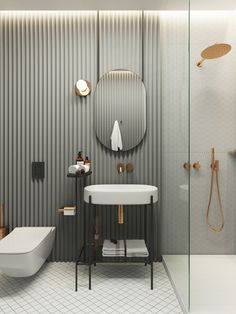 Modern Bathroom Ideas small and luxury. What tile to choose and how to equip a shower room. Bathroom Design Inspiration, Bad Inspiration, Modern Bathroom Design, Bathroom Interior Design, Bathroom Styling, Design Ideas, Bathroom Furniture Design, Web Design, Restroom Design