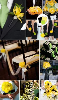 Black, lime green, and yellow  http://wedding.theknot.com/wedding-colors/choosing-wedding-colors/articles/modern-wedding-color-palettes-we-love.aspx?page=8