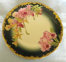Stunning Antique Limoges Tresseman and Vogt (T) Hand Painted Orchids Porcelain Plate