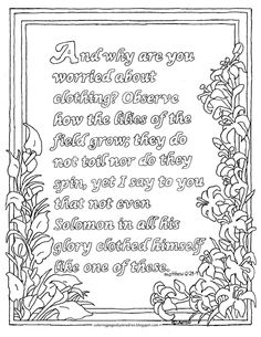 Coloring Pages For Kids By Mr Adron Printable Page Matthew The Lilies Of Field