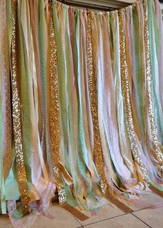 Pink Mint Gold Sequin Fabric Wedding Backdrop Garland - Photo Prop