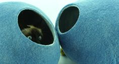 Cat bed house cave. Free shipping. From natural felted by kivikis