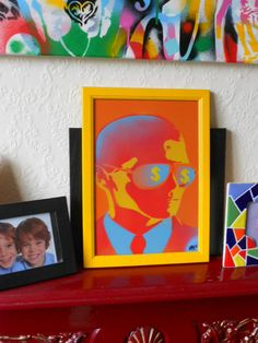 framed painting of man with by AbstractGraffitiShop on Etsy, $50.00