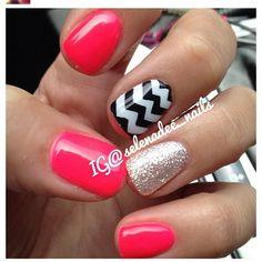 Pink, glitter, chevron