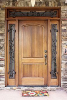 Decatur Hendersonville Door w/ Wrought Iron Sidelights and Transom