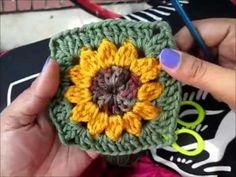 Crochet Pattern Granny Square Sunflower - Ilona Haas - HOME Youtube Crochet Patterns, Granny Square Crochet Pattern, Crochet Flower Patterns, Crochet Squares, Crochet Blanket Patterns, Crochet Flowers, Flower Granny Square, Afghan Crochet, Granny Square Poncho