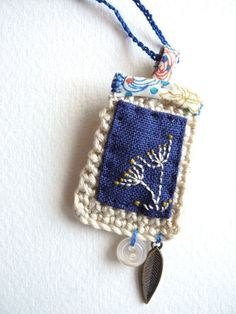 Embroidered flowers fibre art jewelry textile by giovabrusa: