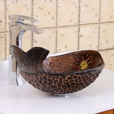 Elite Atlantic Whale Pattern Tempered Bathroom Vessel Sink