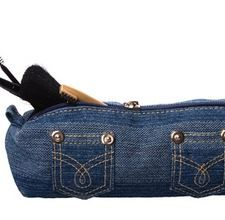 Denim make-up bag