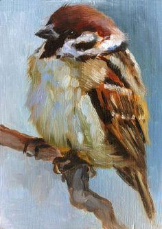 Baby Sparrow Little Sparrow Painting Open Edition by FinchArts #artpainting #OilPaintingTutorial #OilPaintingBirds