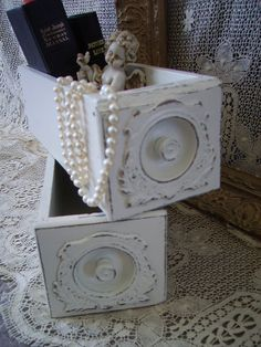 Shabby and chic, Antique sewing Machine drawer, ONE drawer listing, box, storage, heirloom white, distressed 20.00, via Etsy.