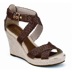 Sperry Top-Sider Harbordale Wedge Sandal ($118) ❤ liked on Polyvore featuring shoes, sandals, wedges, brown, heels, cognac woven leather, wedge heel sandals, brown leather sandals, platform sandals and brown strappy sandals