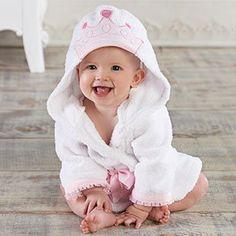 Princess hooded infant robe.