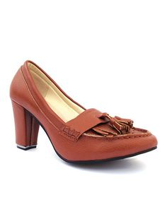 Loving this Brown Margaret Tassel Leather Pump on #zulily! #zulilyfinds
