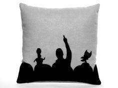 MST3K Appliqued Eco Felt Pillow Cover in Black by SaucyArethusa, $50.00