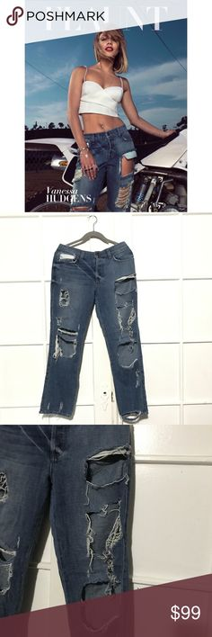 """SIWY Joan Jeans in Rapture- Blogger Favorite! These jeans are a bloggers favorite and seen on Vanessa Hudgens in the cover photo! They are a heavily distressed style. The holes become more distressed overtime, but that's the style. Please pay attention to photos to see level of distressing on this pair!  Wash: rapture 27"""" inseam 9"""" rise 98% cotton, 2% elastane Siwy Jeans Boyfriend"""