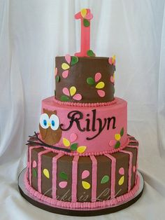 cutest pink and brown owl cake! Owl Cake Birthday, Birthday Ideas, 3rd Birthday, Birthday Parties, Owl Parties, Birthday Stuff, Owl Cakes, Cupcake Cakes, Cupcake Ideas