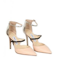 Jimmy Choo Salmon Pink, Black & Silver Leather 'Typhoon' Pointed Toe... ($695) ❤ liked on Polyvore