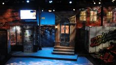 Avenue Q, Lyric Stage Company Set Design, Kathryn Kawecki Lighting Design, Franklin Meissner Set built by Wooden Kiwi Productions