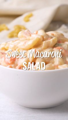 Sweet Macaroni Salad Recipe Sweet Macaroni Salad - seriously THE BEST macaroni salad EVER! I took this to a potluck and it was the first thing gone. Everyone asked for the recipe! Can make this ahead of time and refrigerate overnight. Sweet Macaroni Salad Recipe, Sweet Pasta Salads, Best Macaroni Salad, Pasta Salad Recipes, Baked Macaroni, Macaroni Cheese, Sweet Condensed Milk, How To Make Salad, Food To Make