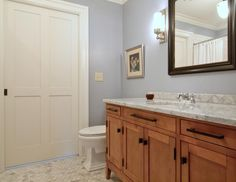 Craftsman Full Bathroom with Southern Hills Black Rectangle Cabinet Knobs (Pack of 5), penny tile floors, Inset cabinets