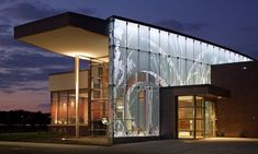 Glass Wall with Graphics at Night, First National Bank, Metro Crossing Branch, RDG Planning & Design