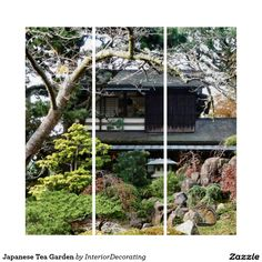 Shop Japanese Tea Garden Triptych created by InteriorDecorating. Triptych Wall Art, Wood Wall Art, Wall Art Decor, Garden Gifts, Illusions, Wall Decals, Outdoor Structures, Japanese, Tea