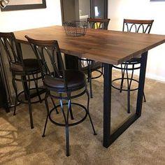 Metal Table Legs Table Legs U Frame Table Legs Square Slab Table, Dining Table Legs, Walnut Table, Dining Room Furniture Design, Metal Table Legs, Cool Tables, Square Tables, Frame, Tube
