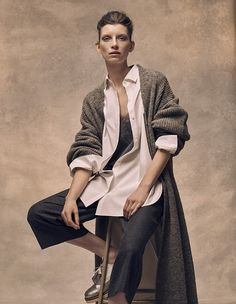 Adding an element of fashion kudos to the offering, the store will seasonally invite guest designers to collaborate (Pictured: long line cardigan in grey, £120, palmer//harding cotton belted long shirt in white, £150, silk and lace camisole in grey, £60, flannel wool culottes in grey, £100)