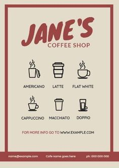 A red framed design with a beige background and cute illustrations of the coffee variety you offer. Create your own cafe menu template in minutes. Menu Template, Templates, Coffee Varieties, Cafe Menu, Beige Background, Cute Illustration, Coffee Shop, Create Your Own, Restaurant