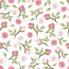 Rose branch seamless background vector