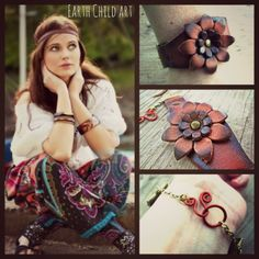 This leather flower cuff was made with the boho cowgirl in mind. It is perfect for the free spirit bohemian who loves all things gypsy, hippie, and fun!  https://www.etsy.com/listing/177628888/leather-flower-cuff-boho-jewelry-cowgirl?ref=shop_home_active_2