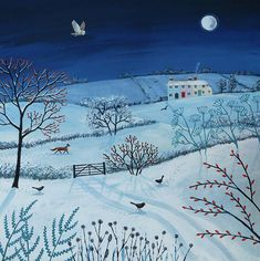 Canvas print of winter landscape at night from an original acrylic painting 'One Snowy Night' by Jo Grundy, available in two sizes Winter Landscape, Landscape Art, Landscape Paintings, Art And Illustration, Guache, Norman Rockwell, Naive Art, Winter Art, Winter Scenes