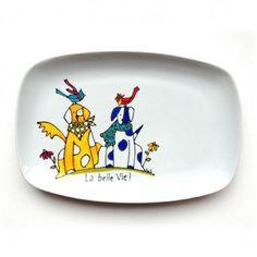 Assiette décorative • La belle vie • 2 chiens - Cadeau peint à la main par l'artiste Isabelle Malo http://www.isamalo.com