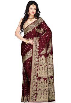 Maroon Pure Silk Satin Banarasi Saree with Blouse: SNEA76. Gorgeous!