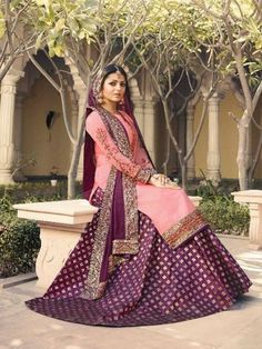 Pink And Purple Embroidered Lehenga Kurti Set is especially crafted for showcasing glamorous style and ethnic elegance with its unique embroidered combination of zari and resham thread work annotat. Lehenga Suit, Lehenga Style, Pink Lehenga, Bridal Lehenga Choli, Anarkali Suits, Punjabi Suits, Salwar Suits Party Wear, Party Wear Dresses, Wedding Dresses