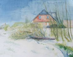 Hanningsaal im Winter (c) Aquarell von Frank Koebsch Watercolor Landscape Paintings, Watercolor Artists, Watercolor Illustration, Art Music, Love Art, The Good Place, Drawings, Artwork, Water Colors