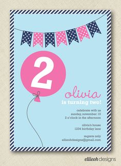 balloon birthday invite doublesided PRINTABLE by ellieohdesigns, $15.00