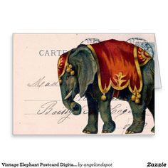 Vintage Elephant Postcard Digital Art Greeting Card