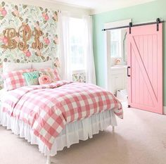 The Chic Technique: Mint and pink girls bedroom with a plaid pink and white comforter.