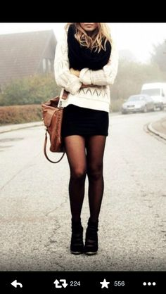 Fall, stockings, fashion, outfit, sweater