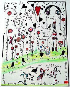 Original Mixed skully cat dog girl watercolor sharpies colored pencils... lots to look at :)