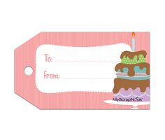 Download this Birthday Cake Gift Tag and other free printables from MyScrapNook.com