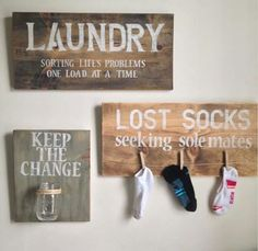 """laundry signs: """"keep the change"""" """"lost socks seeking sole mates"""" """"laundry: sorting life's problems, one load at a time"""" Easy Home Decor, Cheap Home Decor, Cute Home Decor, Cute Diy Room Decor, Decor Diy, Decor Room, Bedroom Decor, Lost Socks, Do It Yourself Home"""