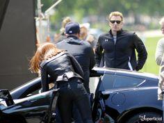scarlett johannson on set of captain america the winter soldier photos   Chris Evans, Scarlett Johansson & Anthony Mackie: 'Captain America ...