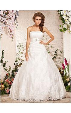 Ball Gown Strapless Floor-length Lace Satin Wedding Dress