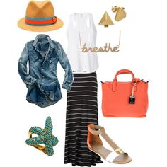 Casual Summer Outfit, created by me on Polyvore - I just bought a similar outfit and I can't wait to wear it!