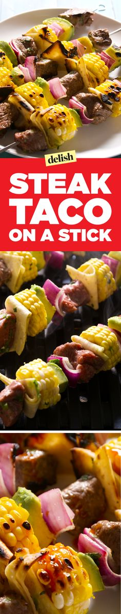 Break out of your shell with our steak taco on a stick. Get the recipe on Delish.com.